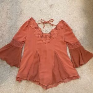 Free People Lace Tie Top